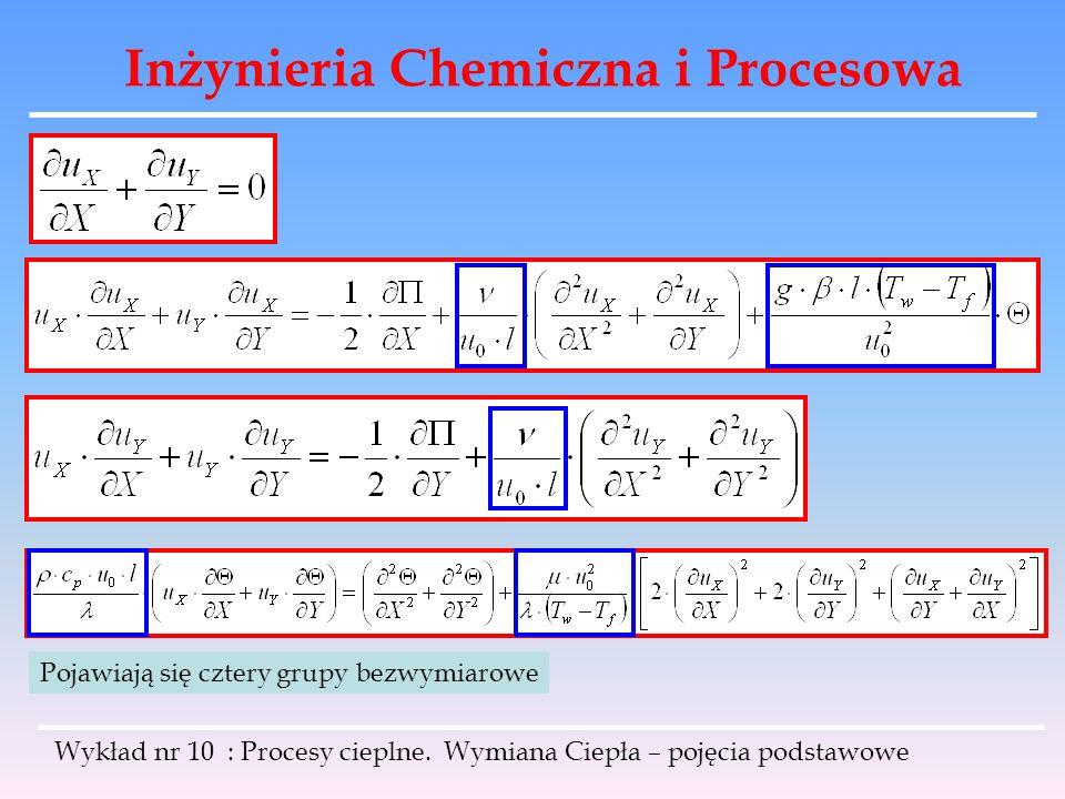 Inżynieria Chemiczna i Procesowa Wykład nr 10 : Procesy cieplne. Wymiana Ciepła – pojęcia podstawowe Pojawiają się cztery grupy bezwymiarowe