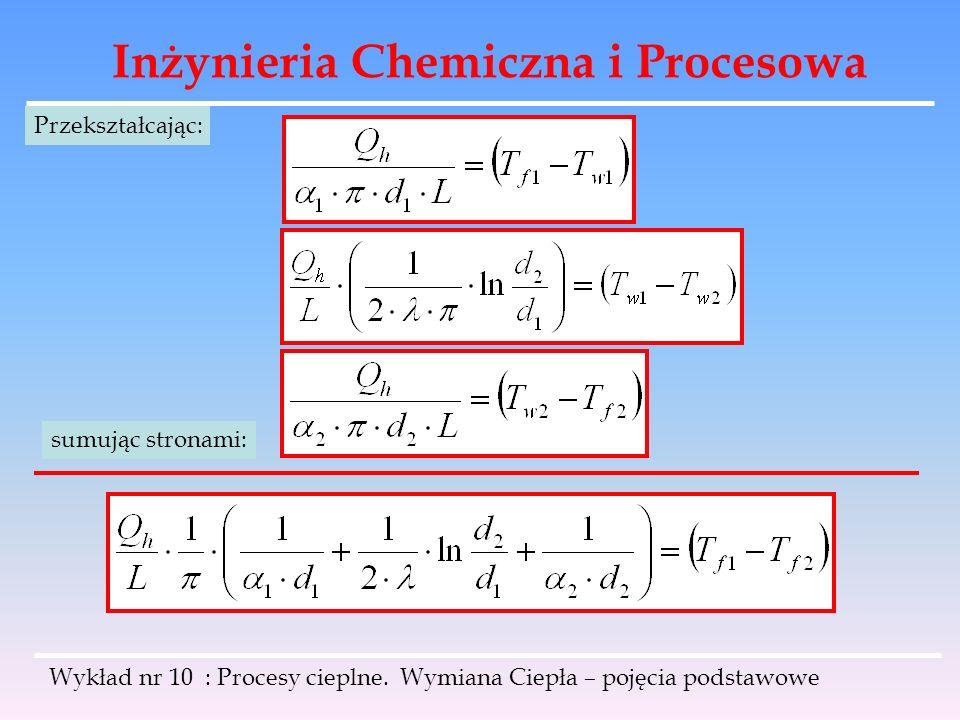 Inżynieria Chemiczna i Procesowa Wykład nr 10 : Procesy cieplne. Wymiana Ciepła – pojęcia podstawowe Przekształcając: sumując stronami: