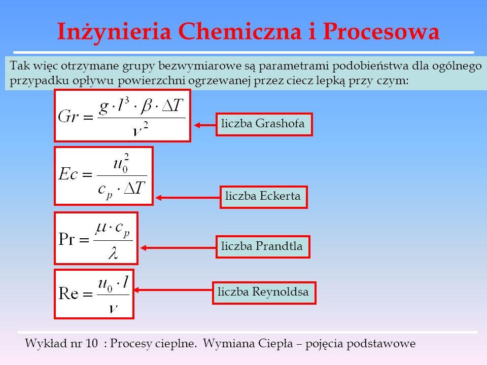 Inżynieria Chemiczna i Procesowa Wykład nr 10 : Procesy cieplne. Wymiana Ciepła – pojęcia podstawowe Tak więc otrzymane grupy bezwymiarowe są parametr