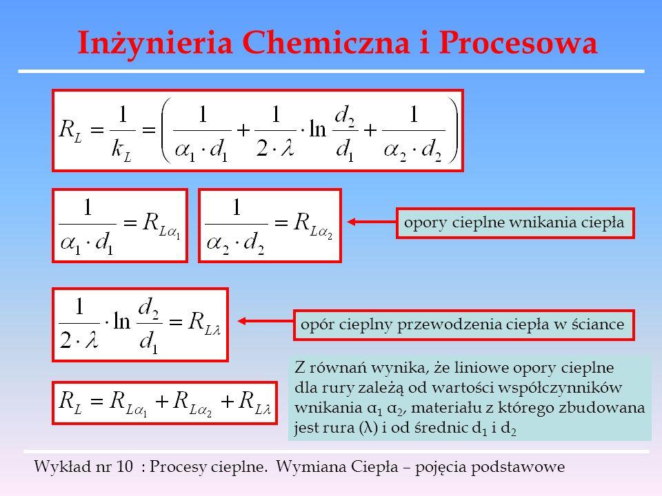 Inżynieria Chemiczna i Procesowa Wykład nr 10 : Procesy cieplne. Wymiana Ciepła – pojęcia podstawowe opory cieplne wnikania ciepła opór cieplny przewo