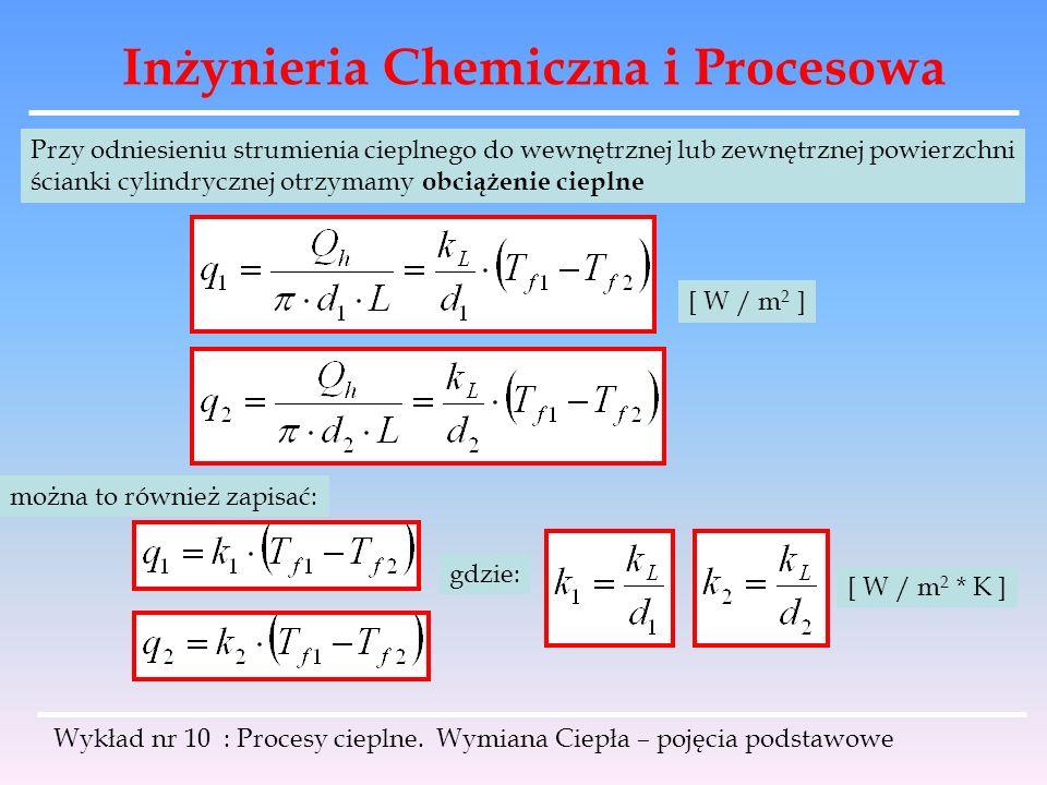 Inżynieria Chemiczna i Procesowa Wykład nr 10 : Procesy cieplne. Wymiana Ciepła – pojęcia podstawowe Przy odniesieniu strumienia cieplnego do wewnętrz