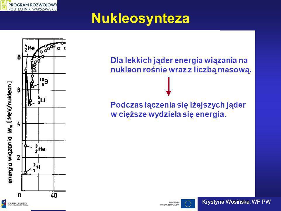 Nukleosynteza Podczas łączenia się lżejszych jąder w cięższe wydziela się energia. Dla lekkich jąder energia wiązania na nukleon rośnie wraz z liczbą