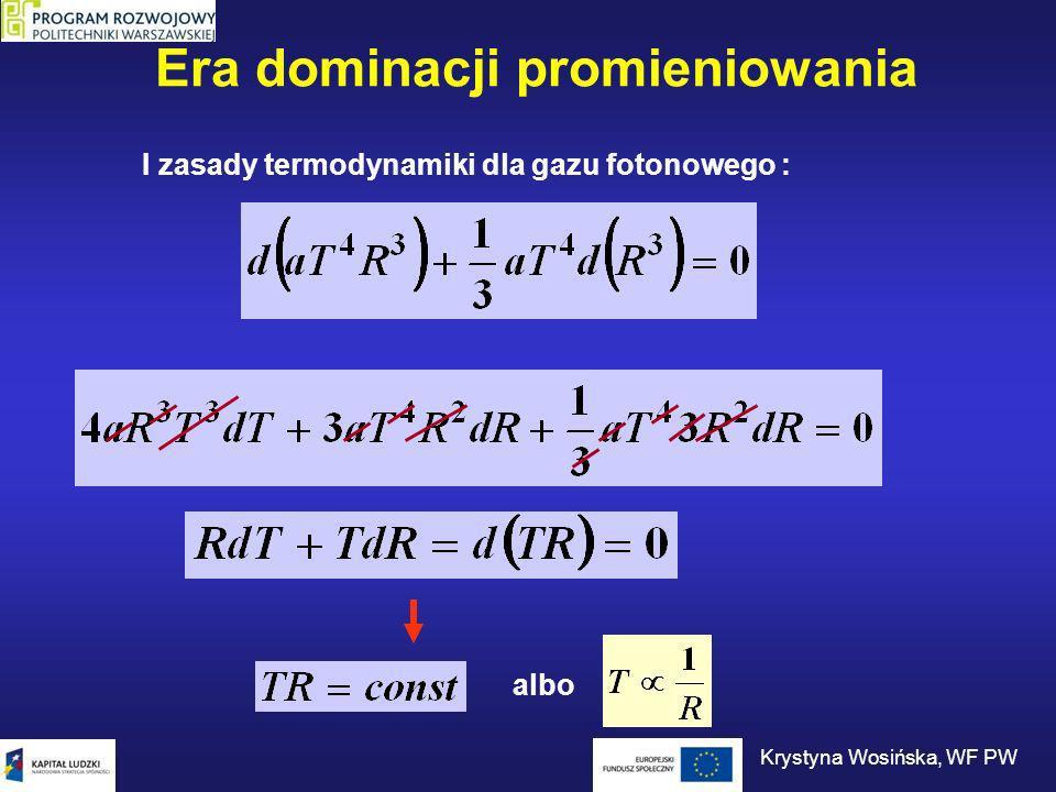 Era dominacji promieniowania I zasady termodynamiki dla gazu fotonowego : albo Krystyna Wosińska, WF PW