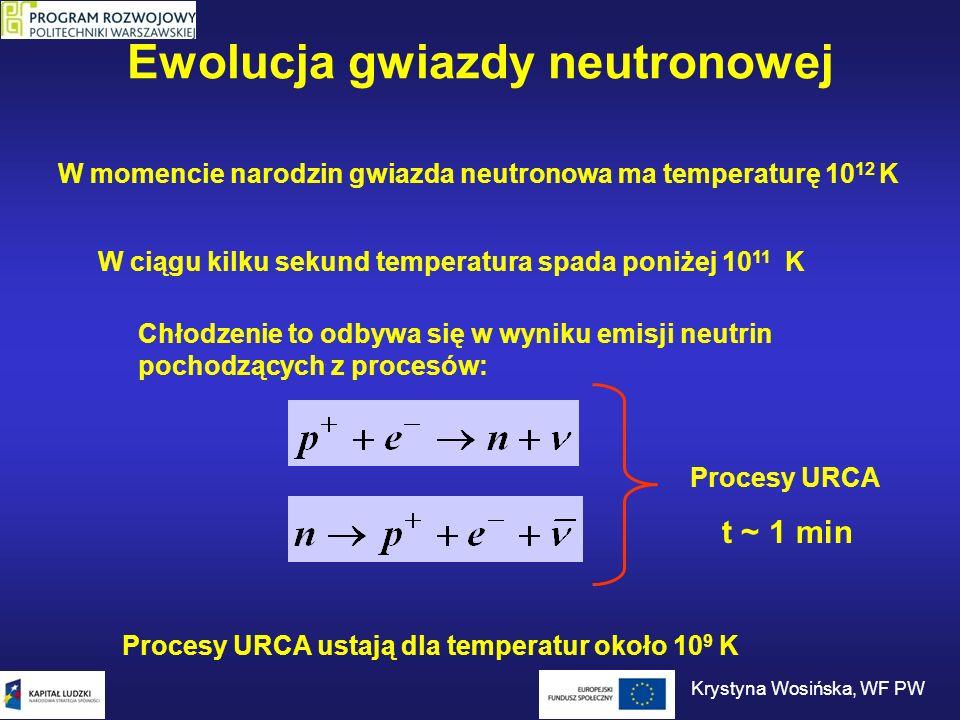 Ewolucja gwiazdy neutronowej Zaczynają odgrywać rolę zmodyfikowane procesy URCA: Straty energii w wyniku tych procesów są proporcjonalne do T 8 Ze spadkiem temperatury gwałtownie spada emisja neutrin.