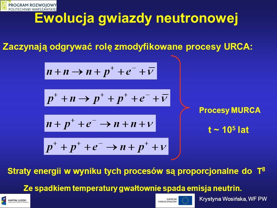 Ewolucja gwiazdy neutronowej Gdy temperatura spadnie wystarczająco, główną rolę zaczynają odgrywać procesy wolniej zależne od temperatury.