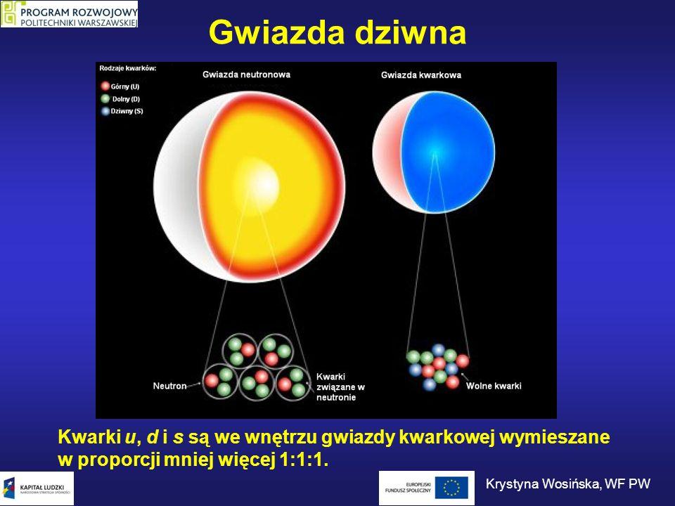 Gwiazda dziwna Aby w gwieździe neutronowej powstała materia kwarkowa gęstość materii w jądrze gwiazdy musi przekroczyć krytyczną wartość.
