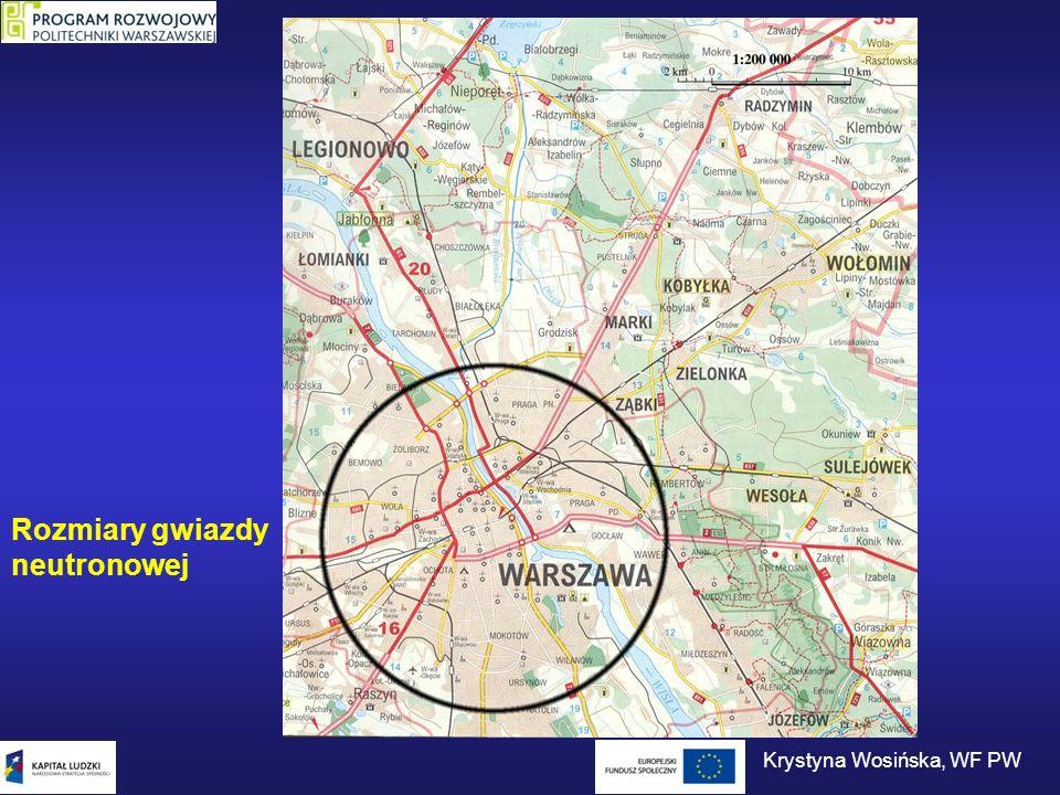 Gęstość materii we wnętrzu gwiazdy neutronowej rośnie od kilku g/cm 3 na powierzchni do ~ 10 15 g/cm 3 w jej centrum.