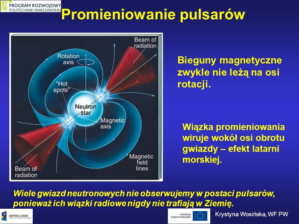 Promieniowanie pulsarów Krystyna Wosińska, WF PW