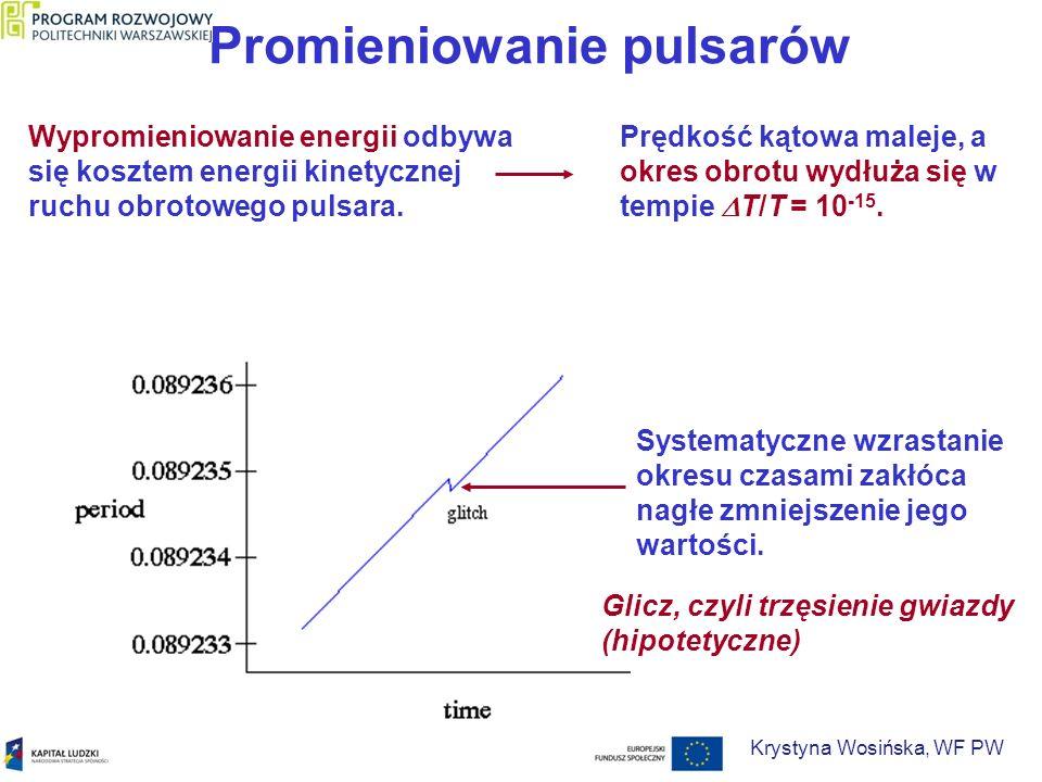 Promieniowanie pulsarów Glicz - nagłe skrócenie okresu rotacyjnego spowodowane gwałtowanym zmniejszeniem momentu bezwładności.