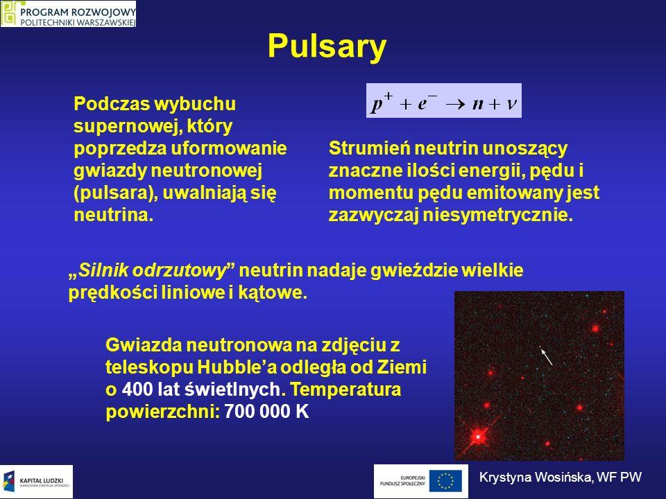 Pulsary Artystyczna wizja dwóch pulsarów o okresach 23 ms i 2,8 s oddalonych od nas o 2000 lat świetlnych: PSR J0737-3039A i PSR J0737- 3039B.