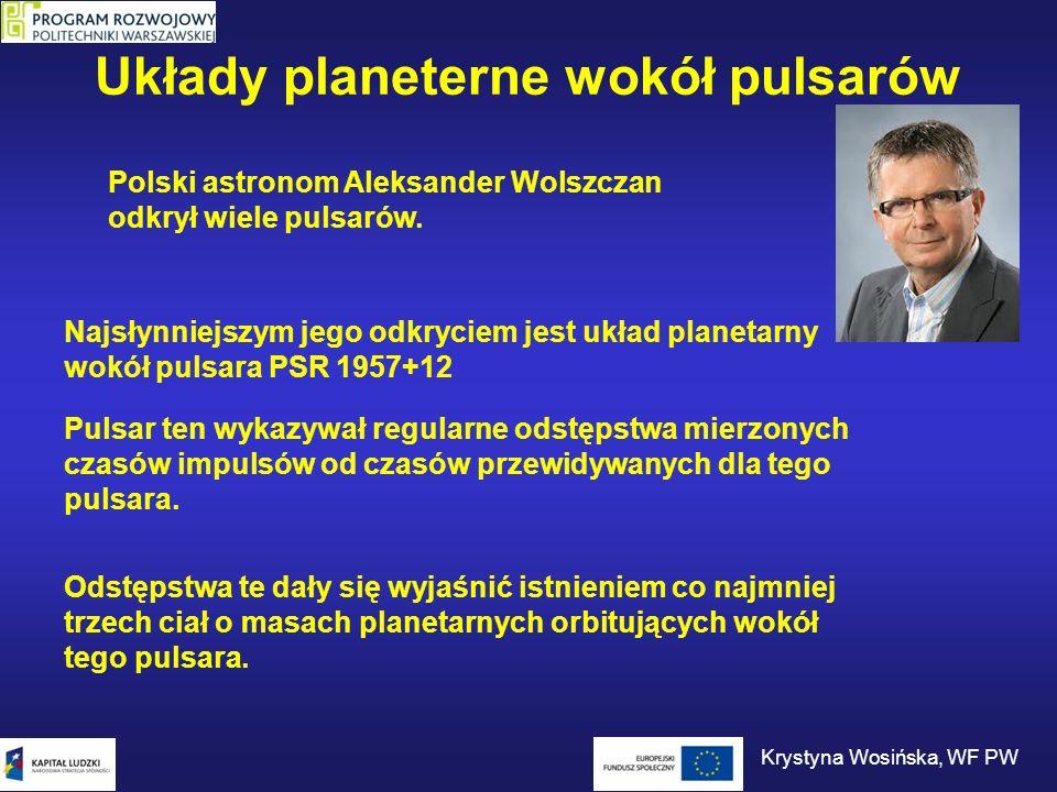 Układy planeterne wokół pulsarów Przesunięcia impulsów w czasie Zmiany prędkości planety Krystyna Wosińska, WF PW