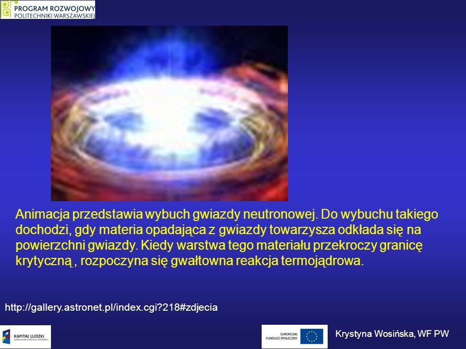 Animacja przedstawia wybuch gwiazdy neutronowej. Do wybuchu takiego dochodzi, gdy materia opadająca z gwiazdy towarzysza odkłada się na powierzchni gw