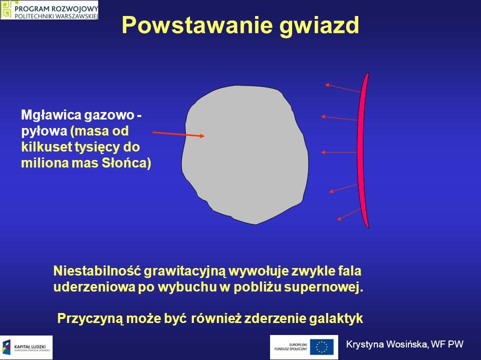 Powstawanie gwiazd Mgławica gazowo - pyłowa (masa od kilkuset tysięcy do miliona mas Słońca) Niestabilność grawitacyjną wywołuje zwykle fala uderzenio