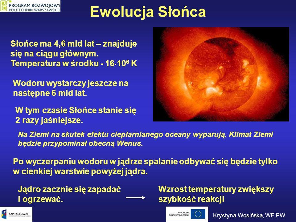 Ewolucja Słońca Słońce ma 4,6 mld lat – znajduje się na ciągu głównym. Temperatura w środku - 16 10 6 K Wodoru wystarczy jeszcze na następne 6 mld lat