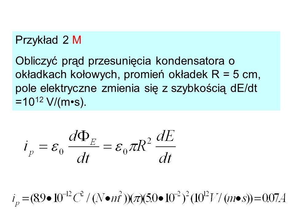 Przykład 2 M Obliczyć prąd przesunięcia kondensatora o okładkach kołowych, promień okładek R = 5 cm, pole elektryczne zmienia się z szybkością dE/dt =