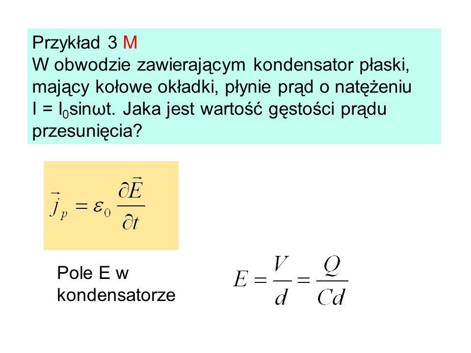 Przykład 3 M W obwodzie zawierającym kondensator płaski, mający kołowe okładki, płynie prąd o natężeniu I = I 0 sinωt. Jaka jest wartość gęstości prąd