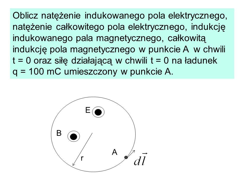 Oblicz natężenie indukowanego pola elektrycznego, natężenie całkowitego pola elektrycznego, indukcję indukowanego pala magnetycznego, całkowitą indukc