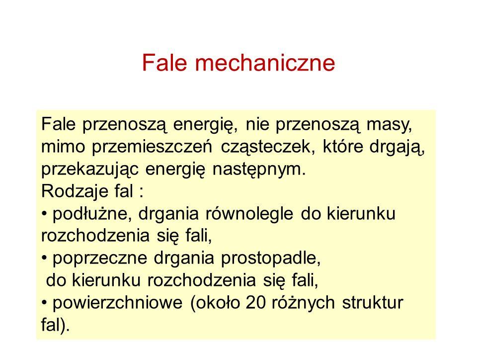 Fale mechaniczne Fale przenoszą energię, nie przenoszą masy, mimo przemieszczeń cząsteczek, które drgają, przekazując energię następnym. Rodzaje fal :