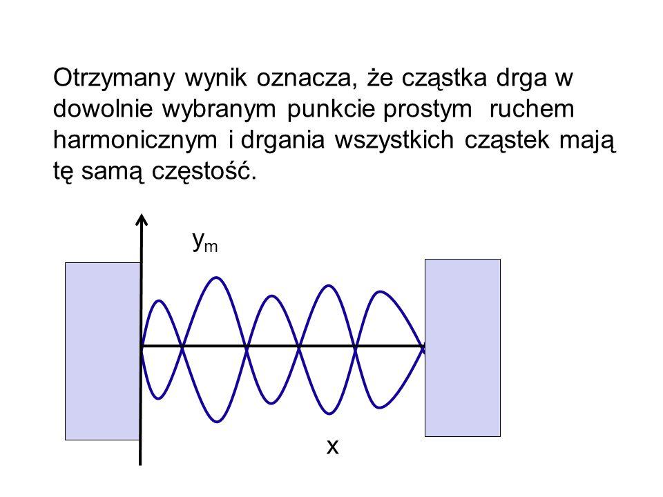 Otrzymany wynik oznacza, że cząstka drga w dowolnie wybranym punkcie prostym ruchem harmonicznym i drgania wszystkich cząstek mają tę samą częstość. x