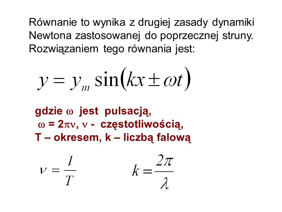 Równanie to wynika z drugiej zasady dynamiki Newtona zastosowanej do poprzecznej struny. Rozwiązaniem tego równania jest: gdzie jest pulsacją, = 2, -