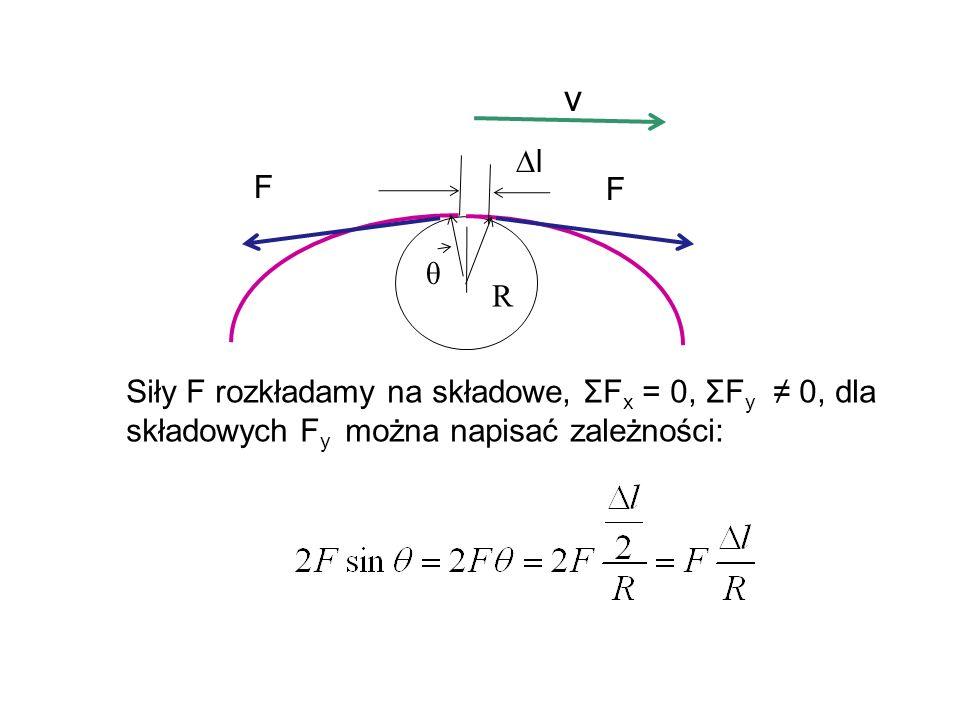 R l F F v θ Siły F rozkładamy na składowe, ΣF x = 0, ΣF y 0, dla składowych F y można napisać zależności: