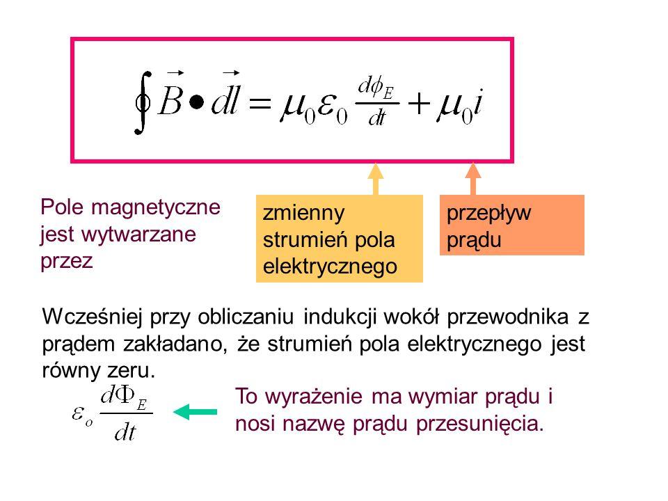 Całkując to równanie po obwodzie prostokąta o bokach h i dx w płaszczyźnie xy otrzymujemy: Strumień pola elektrycznego przechodzący przez ten prostokąt wynosi: Różniczkując po czasie otrzymujemy: a więc równanie (18 ) można przepisać w postaci (19) (20) (21) (22)