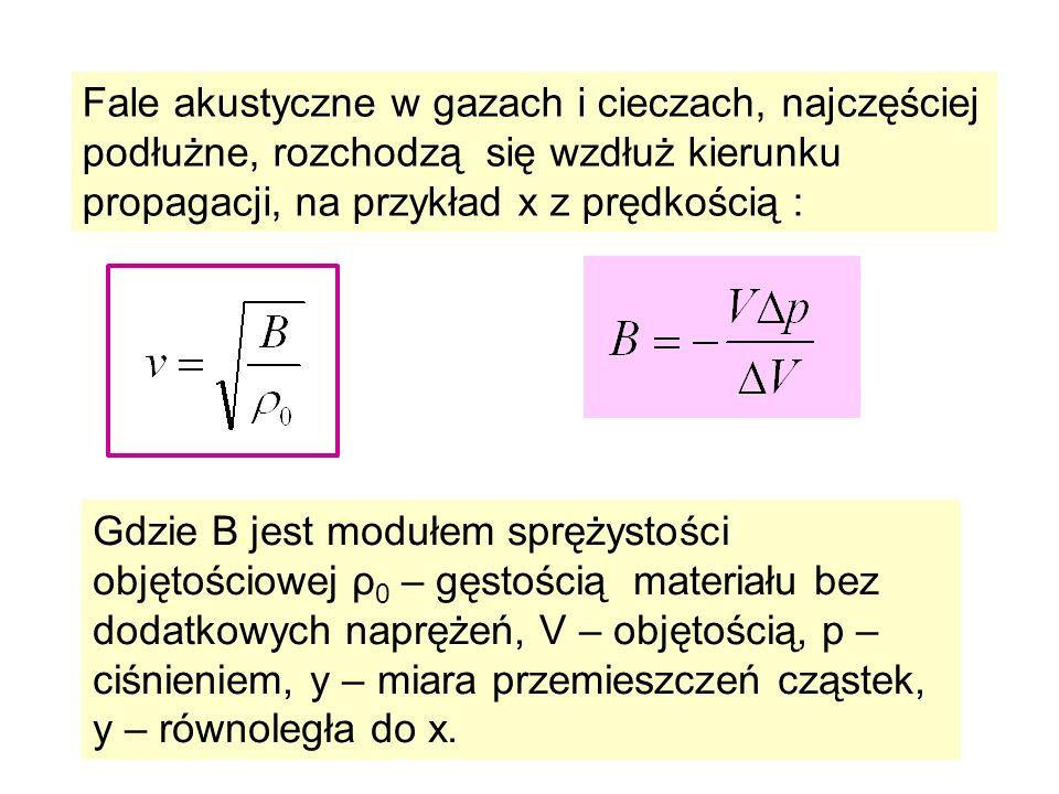 Fale akustyczne w gazach i cieczach, najczęściej podłużne, rozchodzą się wzdłuż kierunku propagacji, na przykład x z prędkością : Gdzie B jest modułem