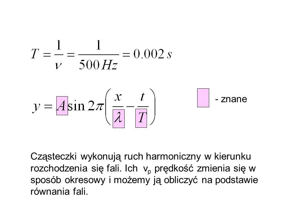 - znane Cząsteczki wykonują ruch harmoniczny w kierunku rozchodzenia się fali. Ich v p prędkość zmienia się w sposób okresowy i możemy ją obliczyć na