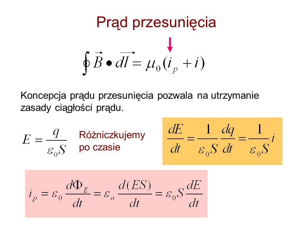 Korzystając z równań (14 ), (22 ) otrzymujemy: stąd Eliminując E m /B m otrzymamy: c - prędkość światła w teorii elektromagnetyzmu.