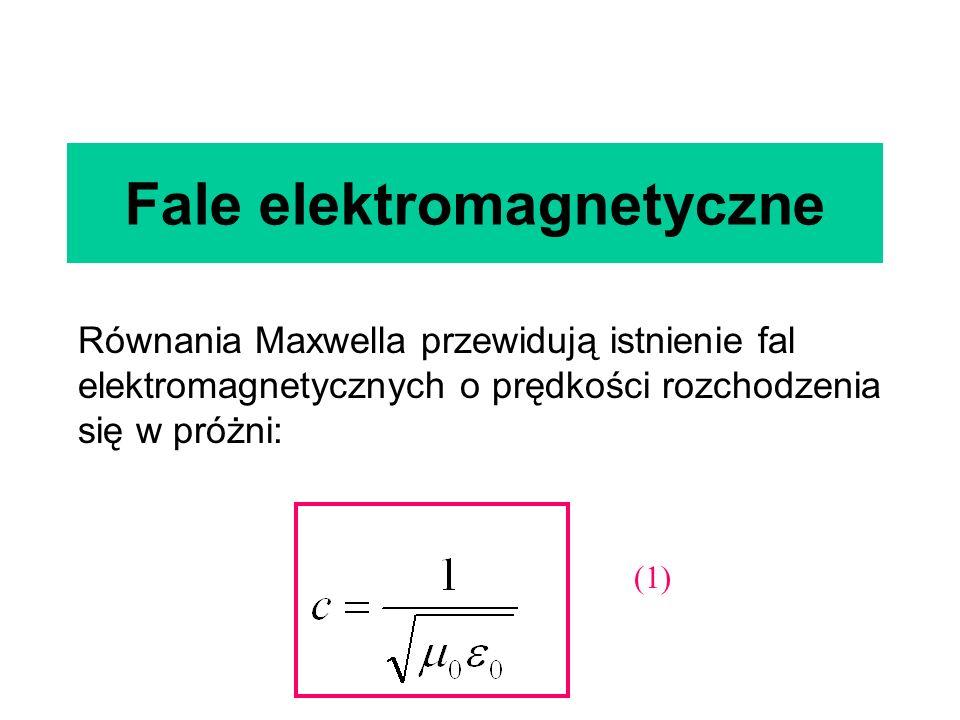 Fale elektromagnetyczne Równania Maxwella przewidują istnienie fal elektromagnetycznych o prędkości rozchodzenia się w próżni: (1)