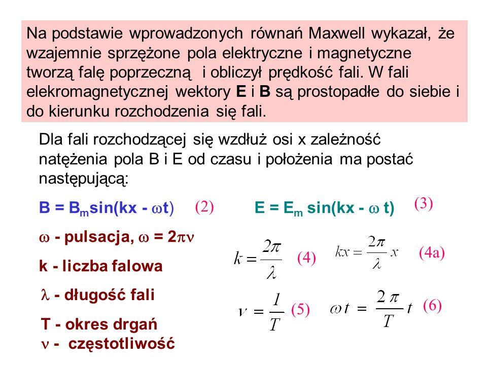 Na podstawie wprowadzonych równań Maxwell wykazał, że wzajemnie sprzężone pola elektryczne i magnetyczne tworzą falę poprzeczną i obliczył prędkość fa
