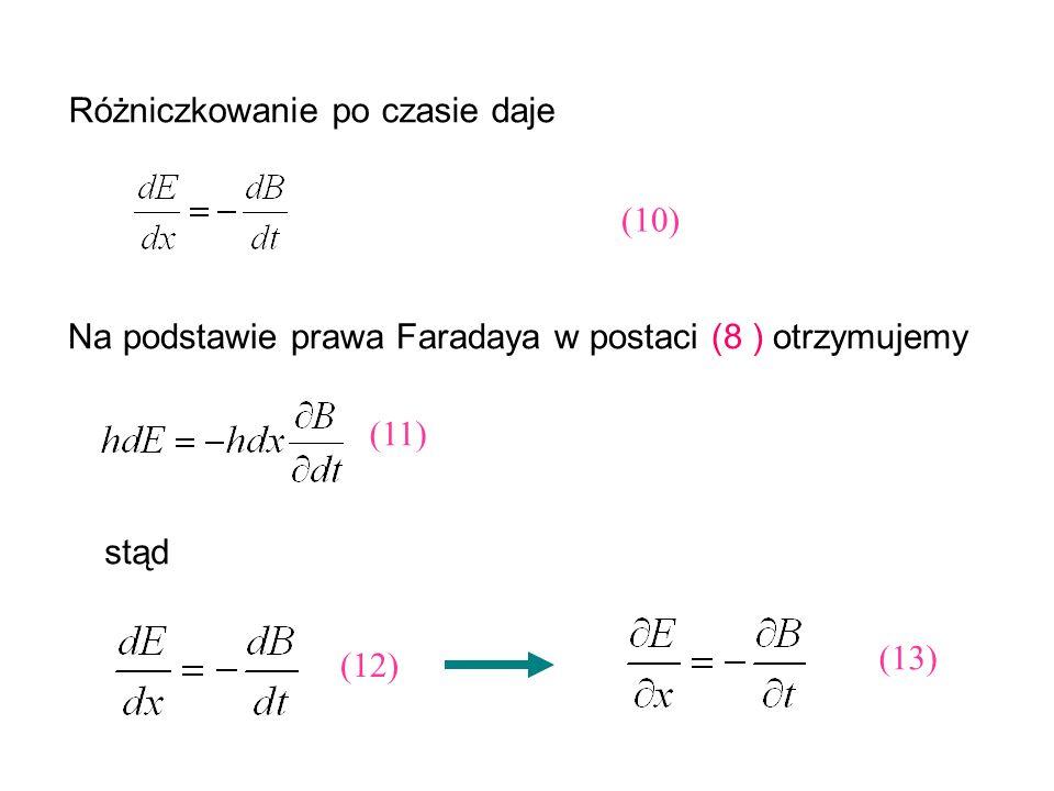 Różniczkowanie po czasie daje (10) Na podstawie prawa Faradaya w postaci (8 ) otrzymujemy (11) stąd (12) (13)