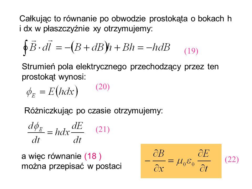 Całkując to równanie po obwodzie prostokąta o bokach h i dx w płaszczyźnie xy otrzymujemy: Strumień pola elektrycznego przechodzący przez ten prostoką