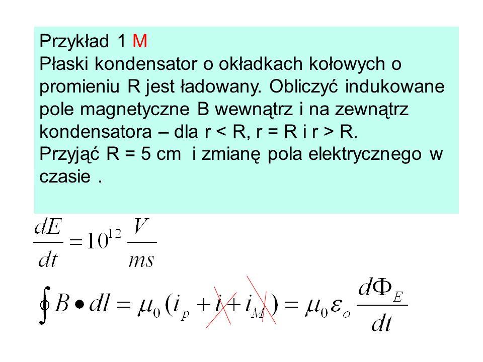 Przykład 1 M Płaski kondensator o okładkach kołowych o promieniu R jest ładowany. Obliczyć indukowane pole magnetyczne B wewnątrz i na zewnątrz konden