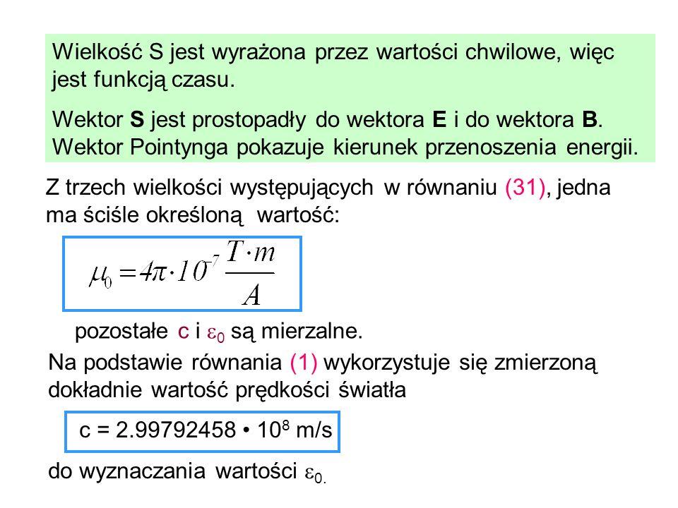 Wielkość S jest wyrażona przez wartości chwilowe, więc jest funkcją czasu. Wektor S jest prostopadły do wektora E i do wektora B. Wektor Pointynga pok