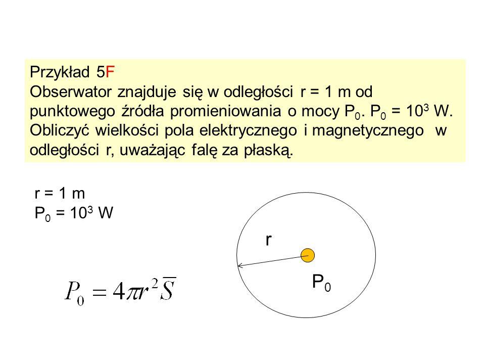 Przykład 5F Obserwator znajduje się w odległości r = 1 m od punktowego źródła promieniowania o mocy P 0. P 0 = 10 3 W. Obliczyć wielkości pola elektry