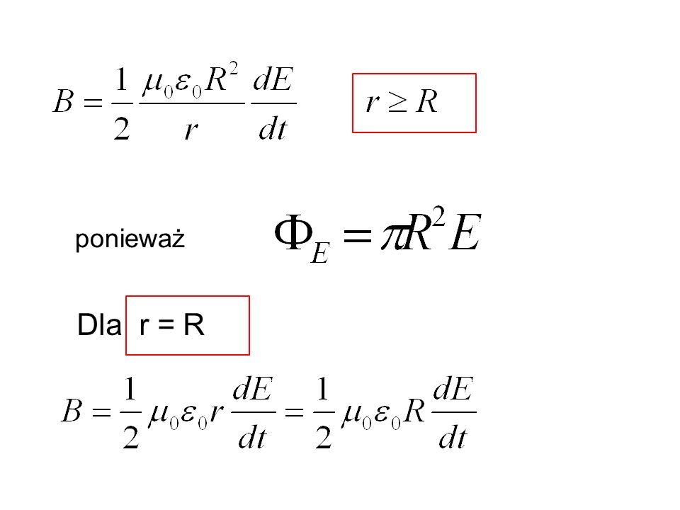 W pewnej chwili energia dW zawarta w pudełku o objętości sdx przenoszona przez falę elektromagnetyczną wynosi dW = dW E + dW B = (u E + u B )Adx Energia pola E Energia pola B u E - gęstość pola E u B - gęstość pola B ale (25) (26) (17) (28)
