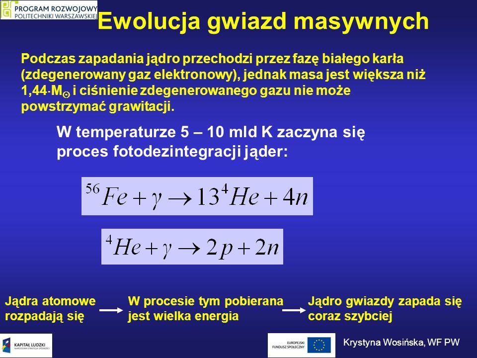 Ewolucja gwiazd masywnych W temperaturze 5 – 10 mld K zaczyna się proces fotodezintegracji jąder: Podczas zapadania jądro przechodzi przez fazę białeg