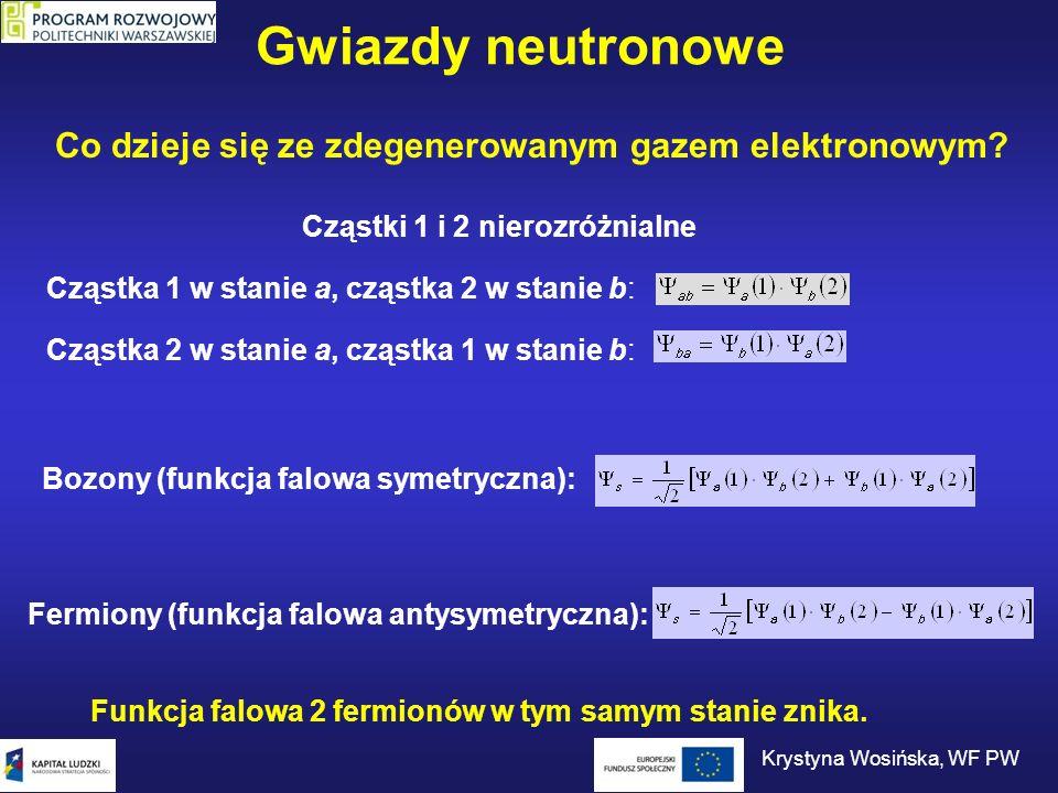 Gwiazdy neutronowe Co dzieje się ze zdegenerowanym gazem elektronowym? Cząstka 1 w stanie a, cząstka 2 w stanie b: Cząstka 2 w stanie a, cząstka 1 w s