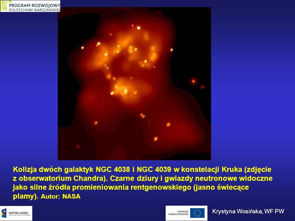 Kolizja dwóch galaktyk NGC 4038 i NGC 4039 w konstelacji Kruka (zdjęcie z obserwatorium Chandra). Czarne dziury i gwiazdy neutronowe widoczne jako sil
