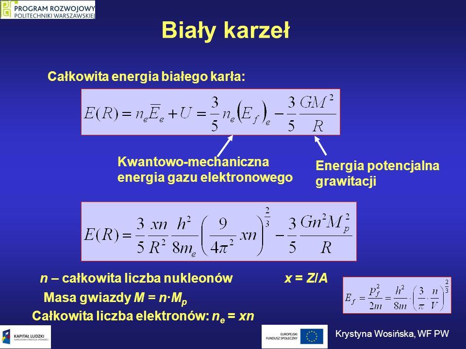 Biały karzeł Całkowita energia białego karła: Kwantowo-mechaniczna energia gazu elektronowego Energia potencjalna grawitacji Krystyna Wosińska, WF PW
