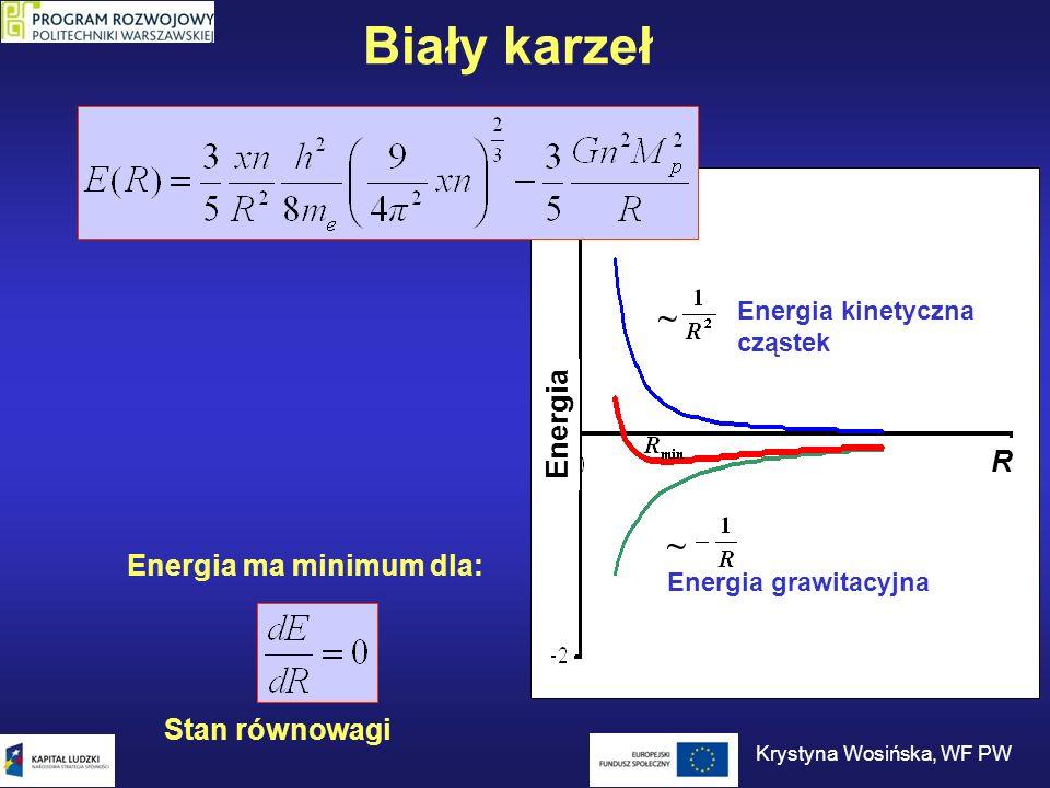 Biały karzeł Dla typowego białego karła o masie ~0,85 masy Słońca (n = 10 57, x=1/2) R 8000 km 3·10 6 g/cm 3 Stan równowagi dla promienia: Masa rośnie – promień maleje.