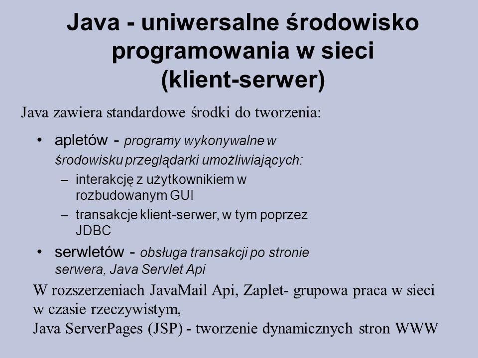 Java - uniwersalne środowisko programowania w sieci (klient-serwer) Java zawiera standardowe środki do tworzenia: apletów - programy wykonywalne w śro