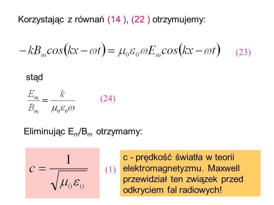 Korzystając z równań (14 ), (22 ) otrzymujemy: stąd Eliminując E m /B m otrzymamy: c - prędkość światła w teorii elektromagnetyzmu. Maxwell przewidzia