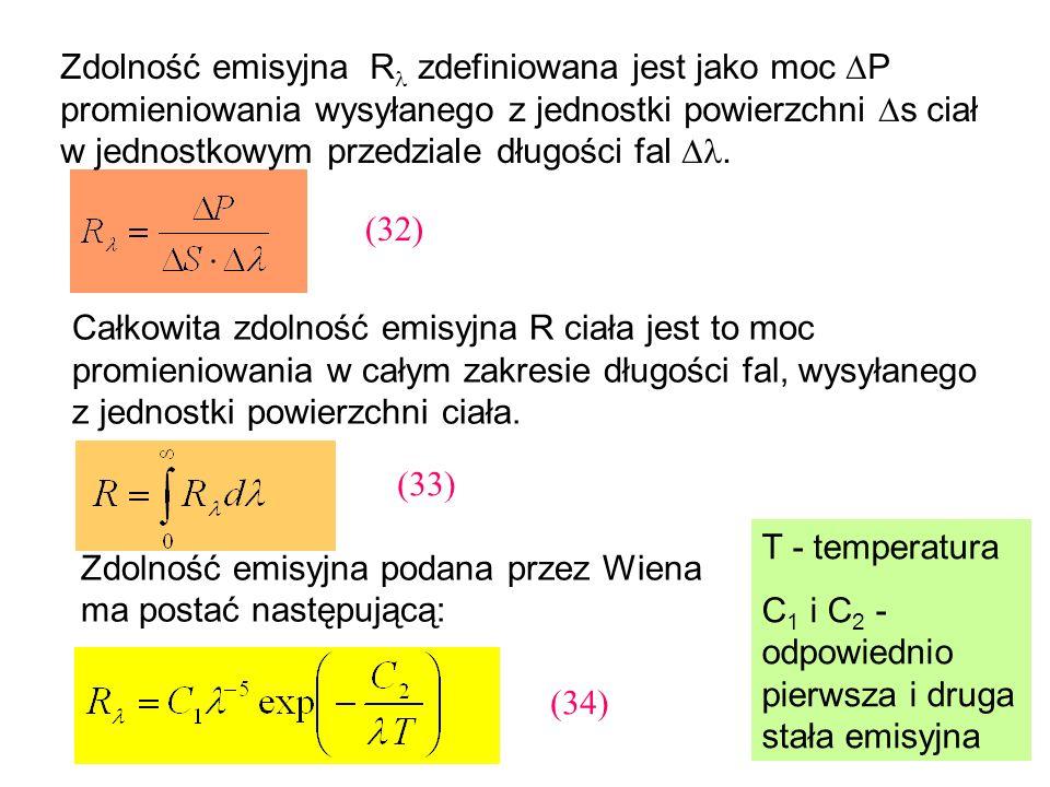 Zdolność emisyjna R zdefiniowana jest jako moc P promieniowania wysyłanego z jednostki powierzchni s ciał w jednostkowym przedziale długości fal. Całk