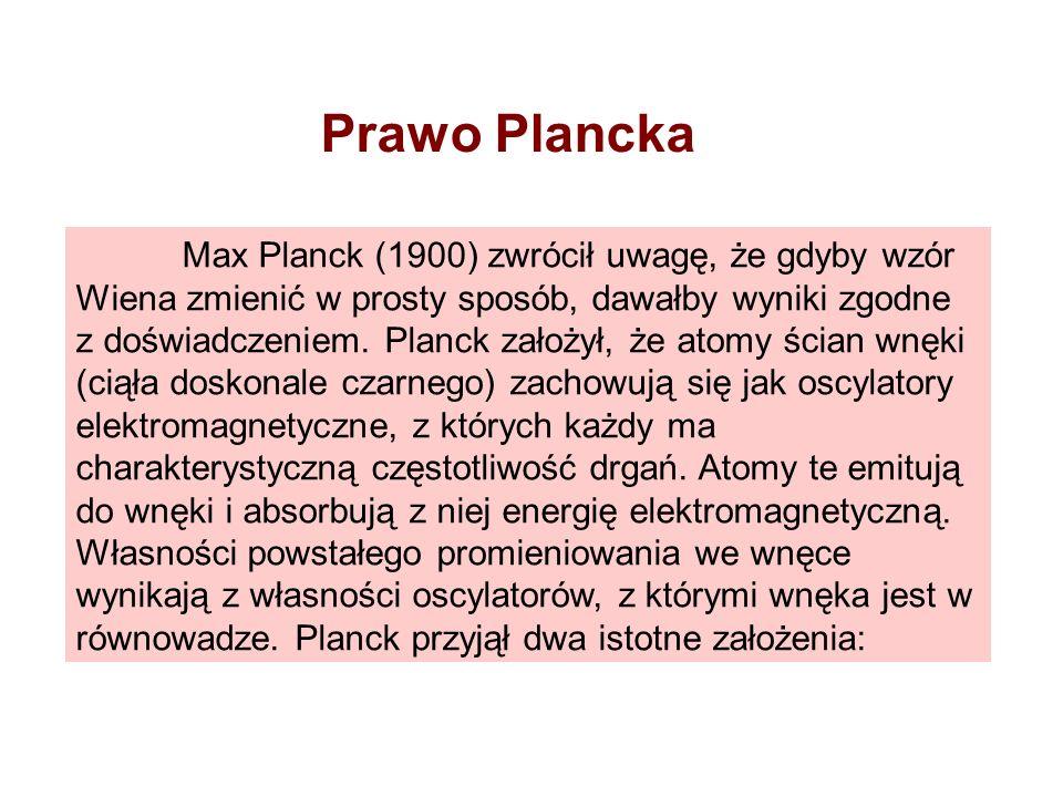 Prawo Plancka Max Planck (1900) zwrócił uwagę, że gdyby wzór Wiena zmienić w prosty sposób, dawałby wyniki zgodne z doświadczeniem. Planck założył, że