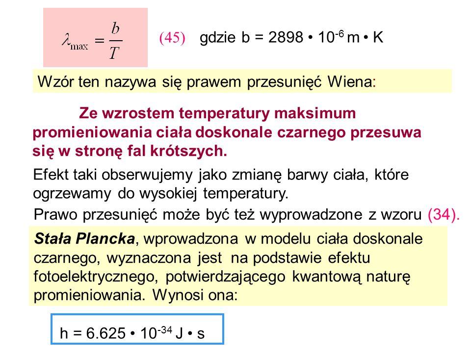gdzie b = 2898 10 -6 m K Wzór ten nazywa się prawem przesunięć Wiena: Ze wzrostem temperatury maksimum promieniowania ciała doskonale czarnego przesuw