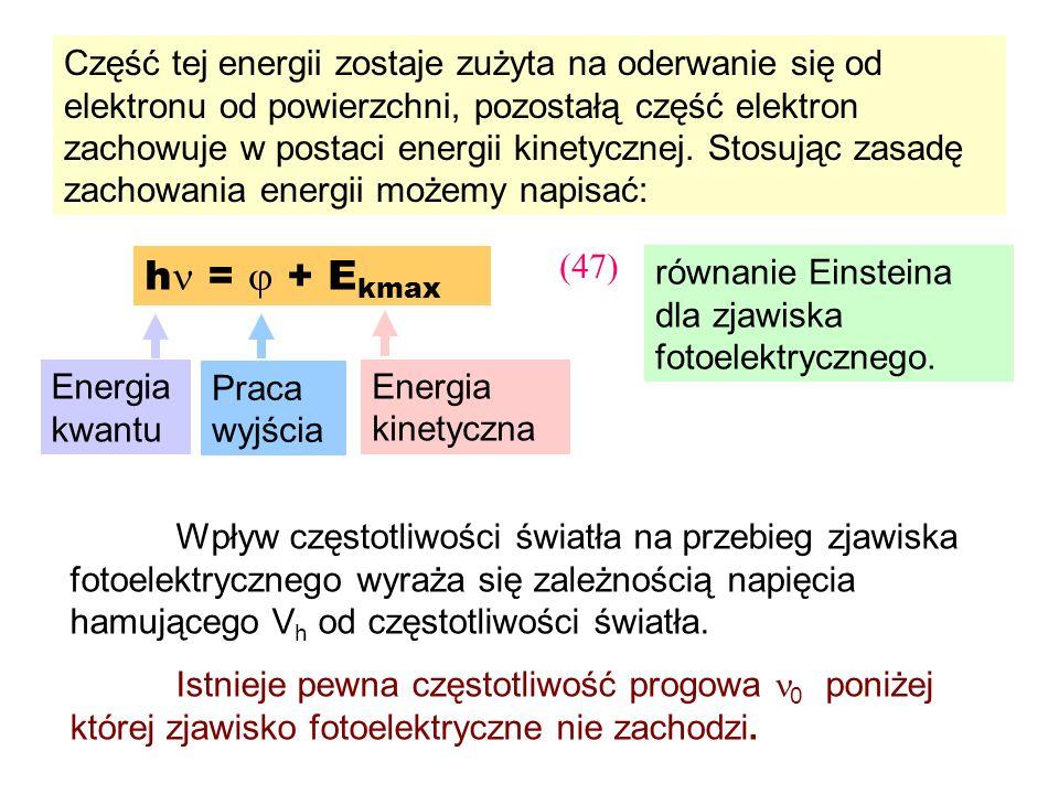 h = + E kmax równanie Einsteina dla zjawiska fotoelektrycznego. (47) Wpływ częstotliwości światła na przebieg zjawiska fotoelektrycznego wyraża się za
