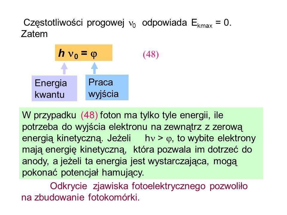 (48) Energia kwantu Praca wyjścia Częstotliwości progowej 0 odpowiada E kmax = 0. Zatem W przypadku (48) foton ma tylko tyle energii, ile potrzeba do