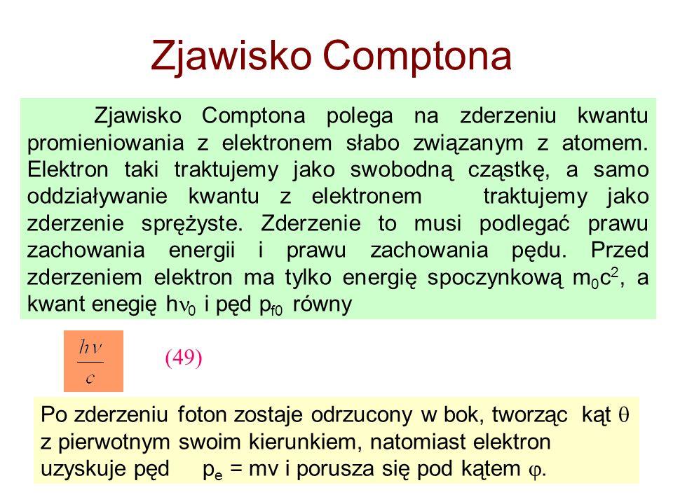Zjawisko Comptona Zjawisko Comptona polega na zderzeniu kwantu promieniowania z elektronem słabo związanym z atomem. Elektron taki traktujemy jako swo